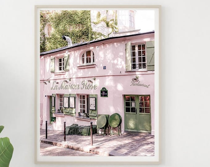 Paris Print - La Maison Rose Print - Paris Canvas Wall Art - Pink Prints - Pink Paris Decor - Pink Paris Photography Print