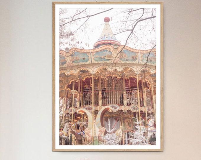 Carousel Photography Print, Carousel wall print, Merry-go-round print, Nursery print, Carousel wall decor, Large wall print, Wall prints