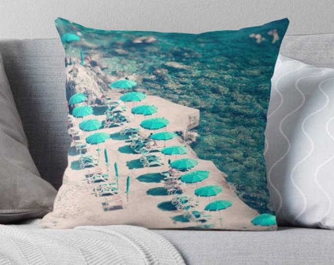 Aerial Beach print throw pillow, beach pillow, ocean decor, beach house decor