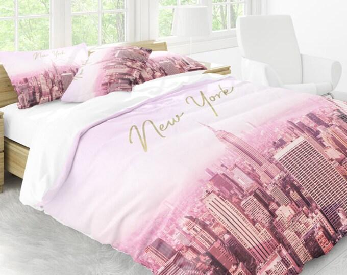 New York Duvet Cover, Pink Duvet Cover