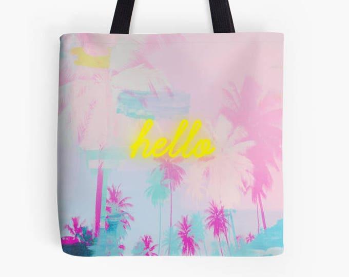 Pink Palm Tree Tote Bag, neon, typography bag, market bag, library bag, fabric bag, yellow neon bag