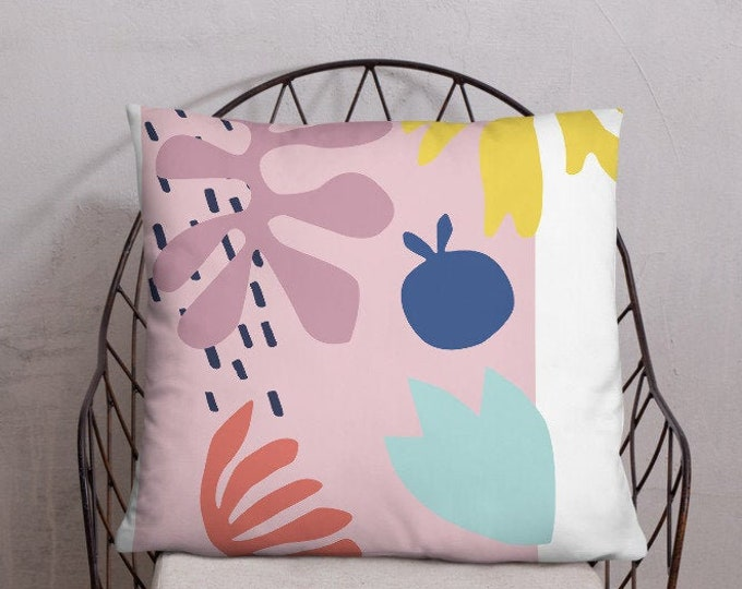 Cut-Out Print Pillow, Bright Pillow, Graphic Art Print Pillow, Pink Pillow