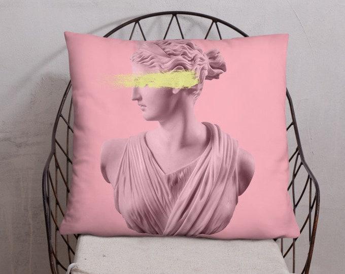 Pink Goddess Aesthetic Pillow, Pink Decor, Goddess Statue Pillow