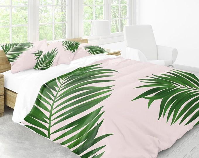 Palm Print Duvet Cover, Green duvet cover, Botanical decor, Palm decor, Green home decor, Botanical bedding set, Pink bedding, Green bedding