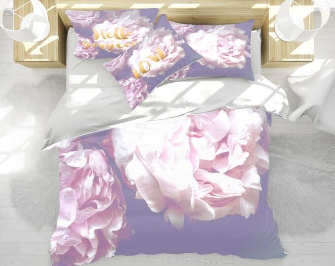 Peony Duvet Cover, Purple duvet cover, Floral bedding, Pretty bedding, Romantic bedding, Floral bedroom set