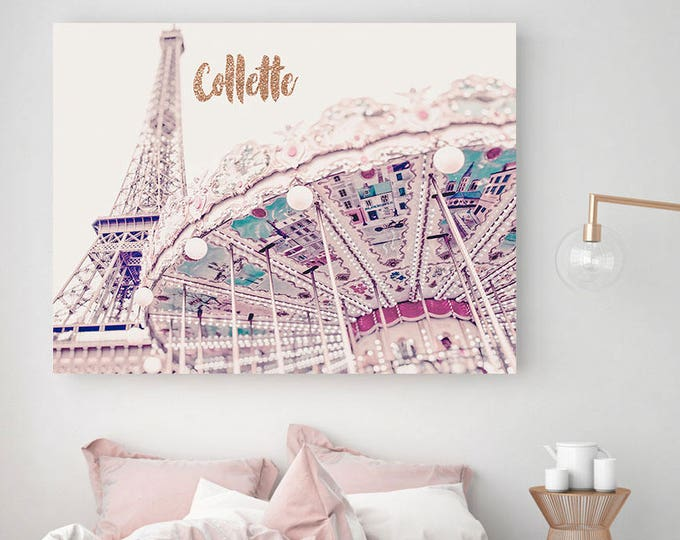 Monogrammed Paris Print, Eiffel Tower Photo, Paris Wall Art, Carousel art, personalised wall art, customised nursery art, name art