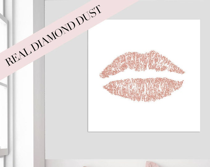 Real glitter lips canvas, Lips canvas encrusted with crystals, Diamond embellished, Rose Gold Decor, Mother's Day Gift, Gift for her