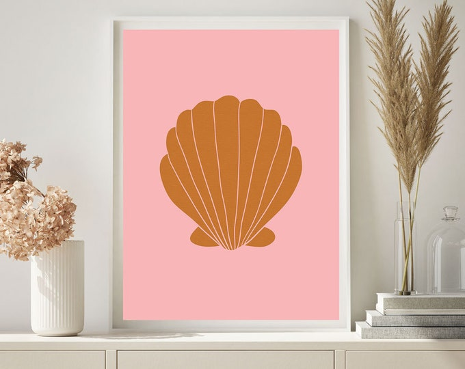 Clam Wall Print, Pink Print, Bedroom Print, Large Wall art, Wall decor, Gift for her, Burnt Orange Print