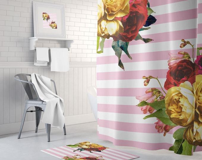Pink Floral Shower Curtain, Striped Bath Curtain, Boho Shower Curtain, Boho Bath Decor, Striped Bath Mat