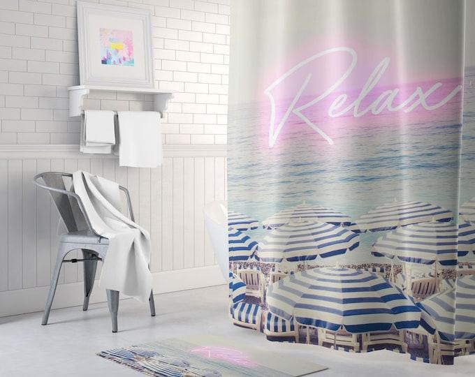 Beach Shower Curtain, Pink Shower Curtain, Beach Bath Decor, Beach Themed Deco, Neon Decor