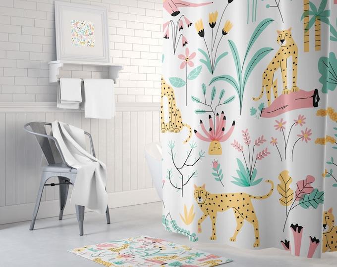 Jungle Shower Curtain - Cheetah Shower Curtain - Jungle Decor - Jungle Theme