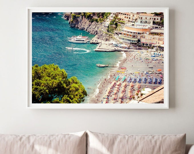 Aerial beach photography print canvas poster - Nautical print, Italy photography, Positano, Amalfi Coast print