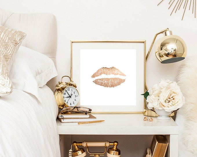 Faux Rose gold lips print - rose gold print - canvas wraps - feminine decor - white decor
