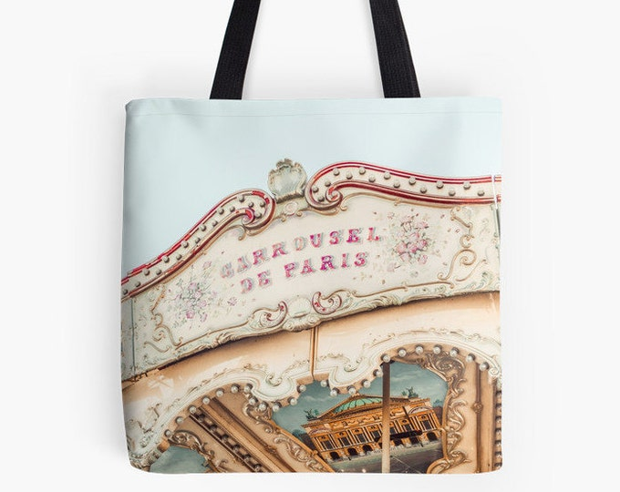 Paris Carousel Tote Bag, Merry-go-round bag, Gift for her, carousel print bag, blue bag, pink bag, fabric bag, library bag, market tote