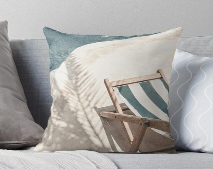 Beach Print Pillow - Coastal Pillow - Beach House Decor - Blue Pillow