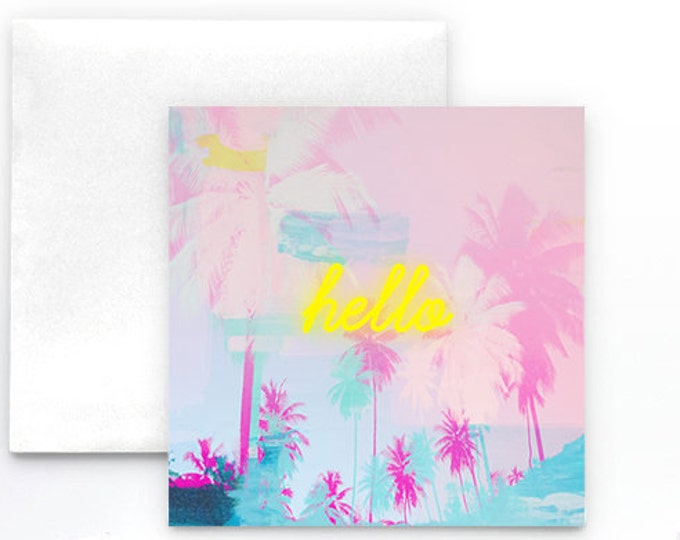 Palm Tree Card, Note card, pink note card, neon sign card, stationery, blank card, invitations, pool party, Summer themed party supplies