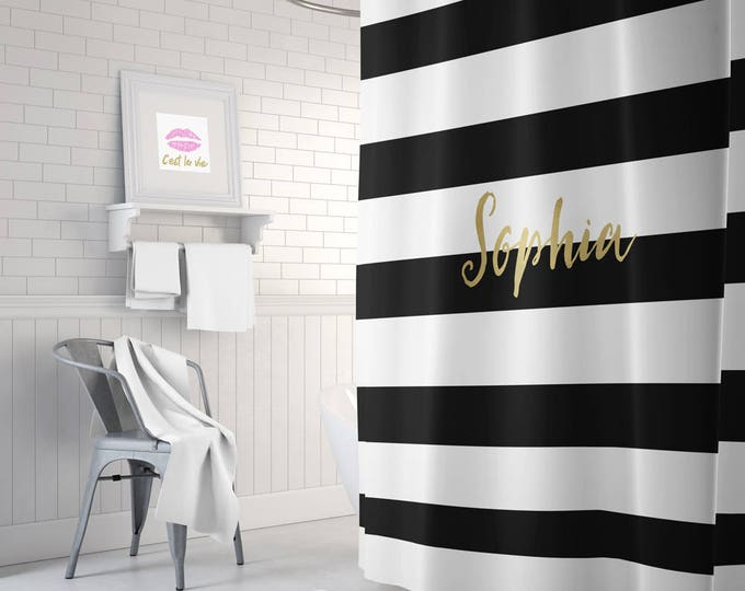 Personalised Black and gold shower curtain, striped shower curtain, white shower curtain, gold bathroom decor, home decor, gold