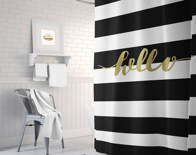 Black and gold shower curtain, striped shower curtain, white shower curtain, gold bathroom decor, home decor, gold, long shower curtain