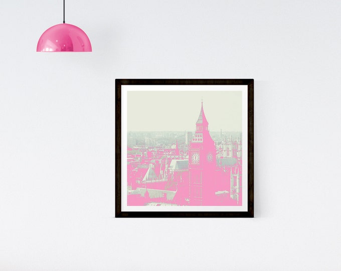 London print -  London pop art - Pink London