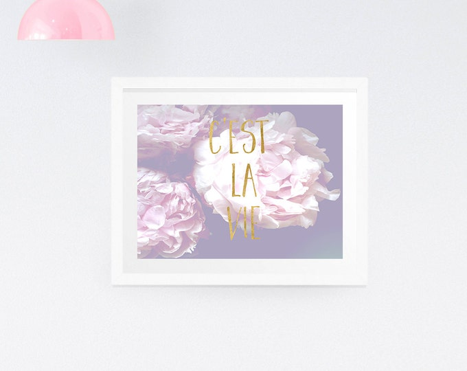 Peony typography print, gold decor, large wall print, floral wall print, purple decor, purple wall print, floral photography, cest la vie