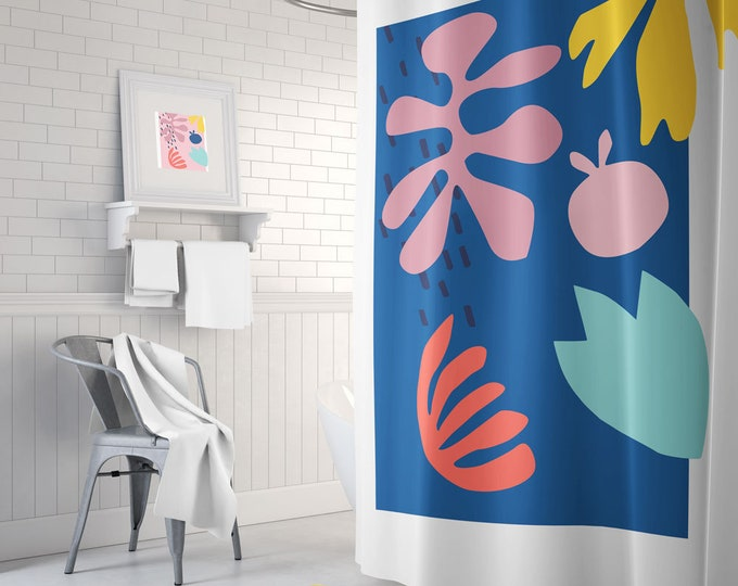 Colorful Art Shower Curtain, Cut-Out Themed Decor, Bright Shower Curtain