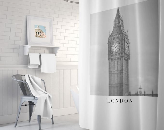 London Shower Curtain, Black and White Shower Curtain, Fabric Shower Curtain