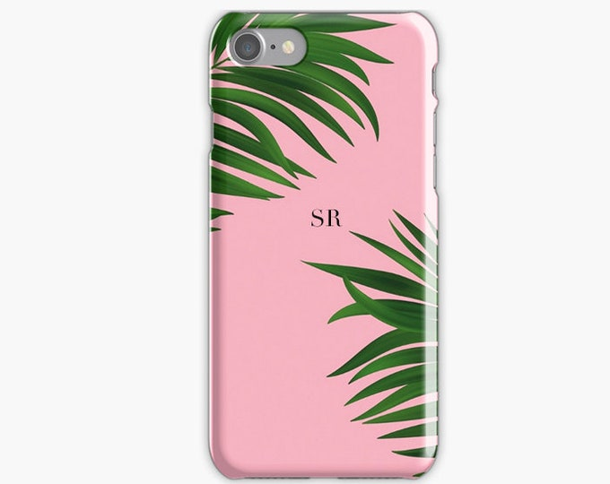 Monogrammed iPhone 8 case, Green Palm Tree iPhone 8 case, Initials iPhone 8 plus case, pink iPhone X case, Gift for her