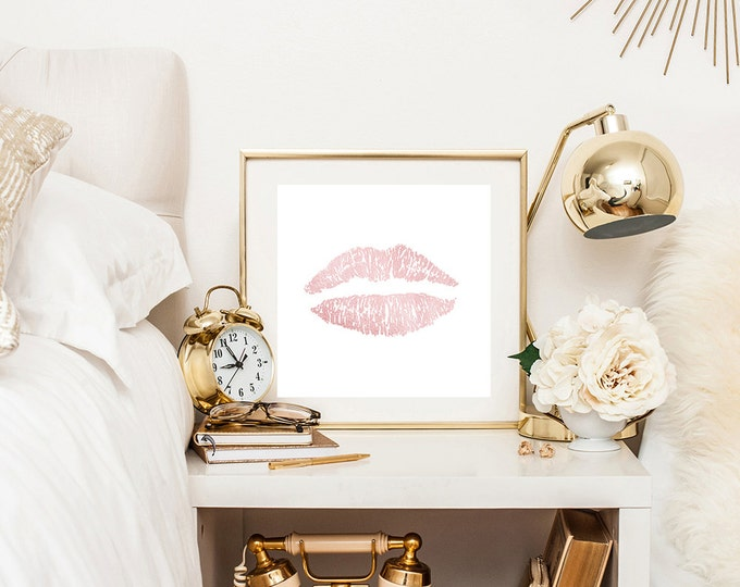 Blush pink lips print, lips wall decor, kiss print, pink wall decor, pink print, blush pink decor