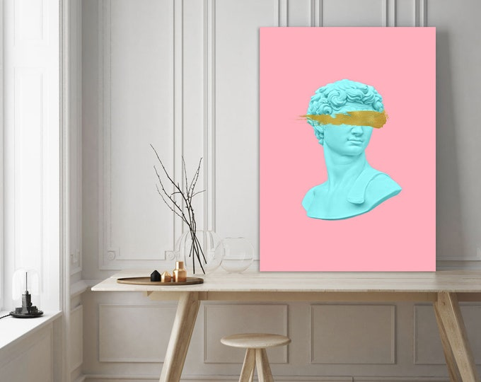 Pink Aesthetic Print, Bedroom Print, Large Wall art, Wall decor, Gift for her, David Canvas