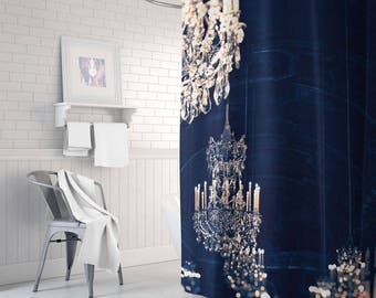 Chandelier Shower Curtain Gold Navy And Decor Bathroom Blue