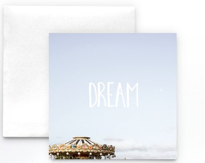 Dream typography Notecard - carousel greeting card