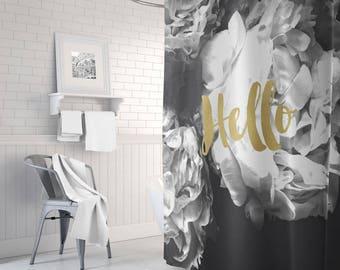 Black And Gold Shower Curtain Long White Bathroom Decor Bath Floral