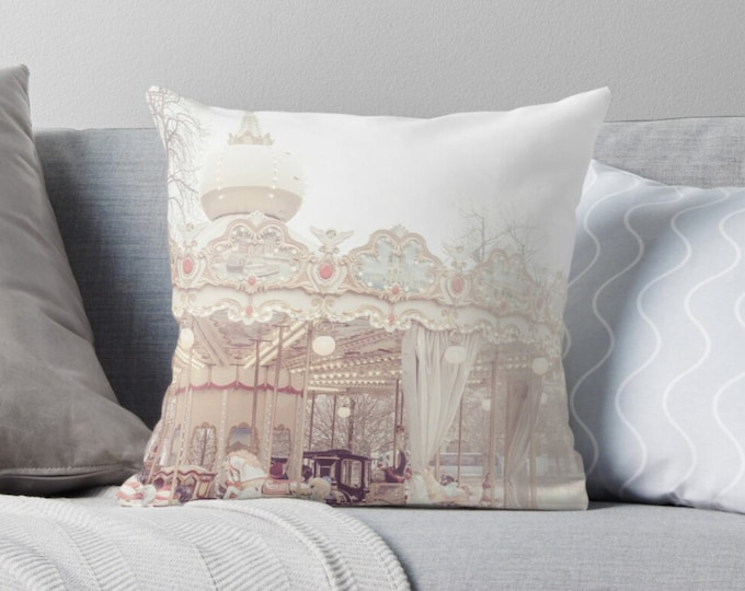 Paris pillow, carousel pillow, merry-go-round, nursery decor, Paris bedding, Paris carnival, gift for her, home decor, baby's room