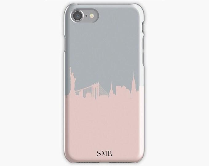 Monogrammed iPhone 8 case, New York skyline iPhone 8 case, Initials iPhone 8 plus case, pink iPhone X case, Gift for her