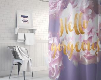 Peony Shower Curtain Floral Bathroom Decor Gold