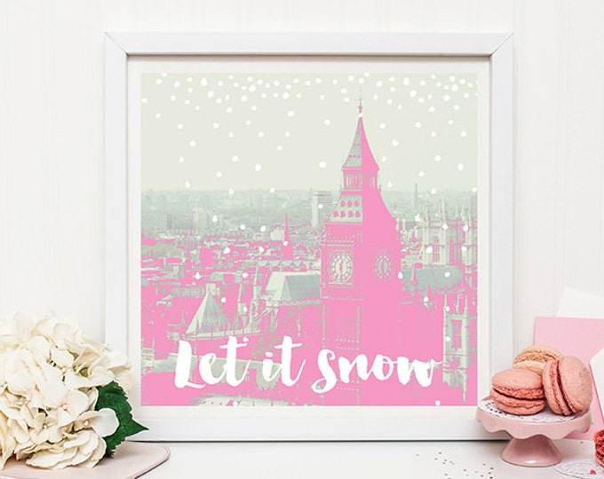 London Christmas print - pink decor, nursery decor, Christmas decor