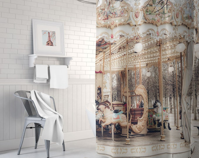 Paris Shower Curtain, Carousel Shower Curtain, Paris Themed Decor, Paris Bath Mat