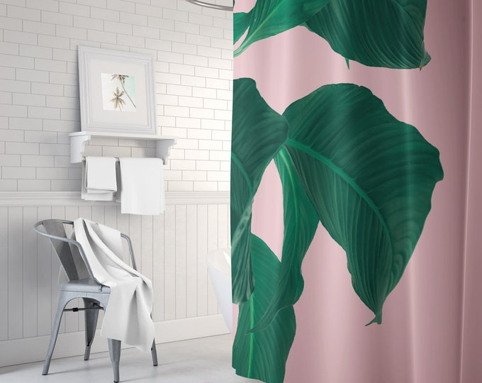 Leaf Print Shower Curtain - Bath Mat - Shower Curtain Set - Boho Shower Curtain - Waterproof Fabric