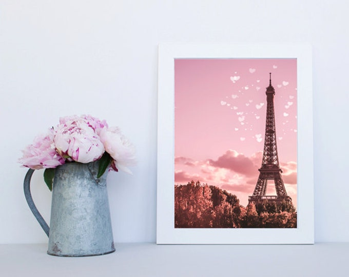 Pink Paris Eiffel Tower Photography Print - Paris print, pink print, dreamy print