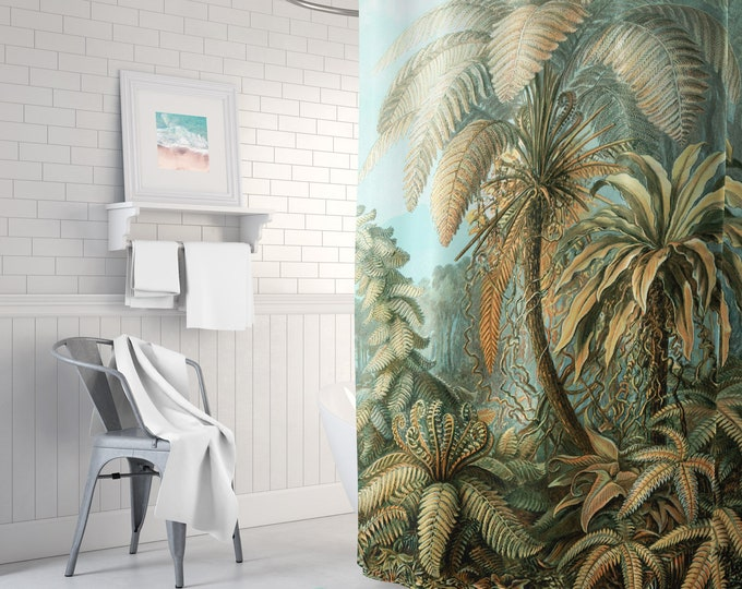 Jungle Shower Curtain - Botanical Shower Curtain - Botanical Decor - Tropical Shower Curtain