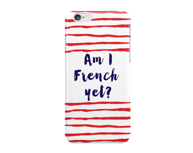 Am I French yet iPhone 8 case, iPhone X case, iPhone 8 plus case, iPhone 7 case, striped device case, blue iPhone case, Gift for her Active