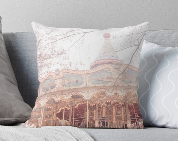 Carousel throw pillow, Merry-go-round pillow, Carousel decor, Nursery decor, Carousel bedding