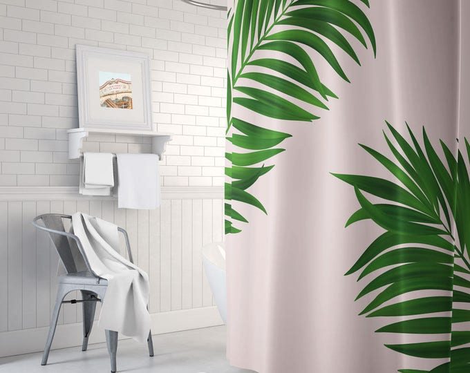 Botanical Shower Curtain - Boho Shower Curtain - Pink and Green Decor