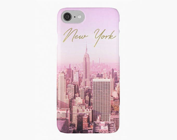 New York iPhone 8 case, Custom name iPhone case, Gold iPhone case, iPhone X case, Pink iPhone 8 plus case, wrap around iPhone case