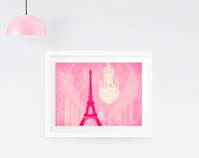 Chandelier print, Chandelier wall art, Eiffel Tower Print, Paris print, Paris wall decor, Home decor, Marie Antoinette, Wall decor