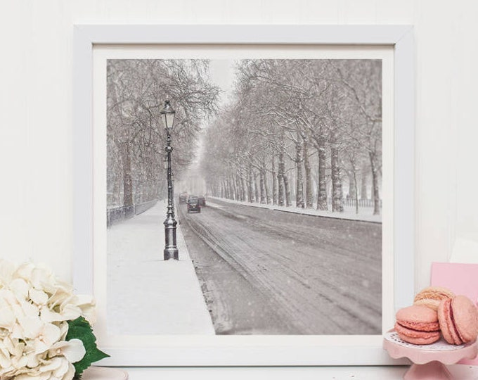 London photographic print, London in the snow, Green Park print, London wall decor, London snow print, London gift, Large wall decor, London