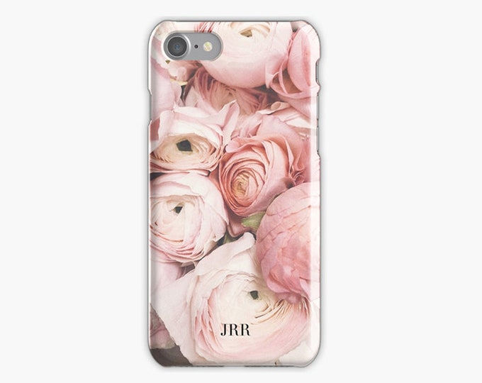 Monogrammed iPhone 8 case, Initials iPhone 8 plus case, Floral iPhone case, iPhone X case, iPhone 7 case, Pink iPhone case, Gift for her