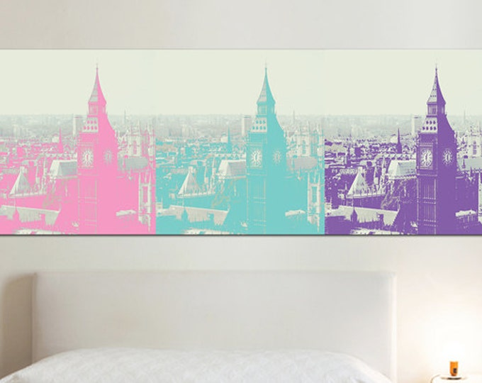 London Print Wall Decor - Extra Large Canvas Print - London photography, colorful decor
