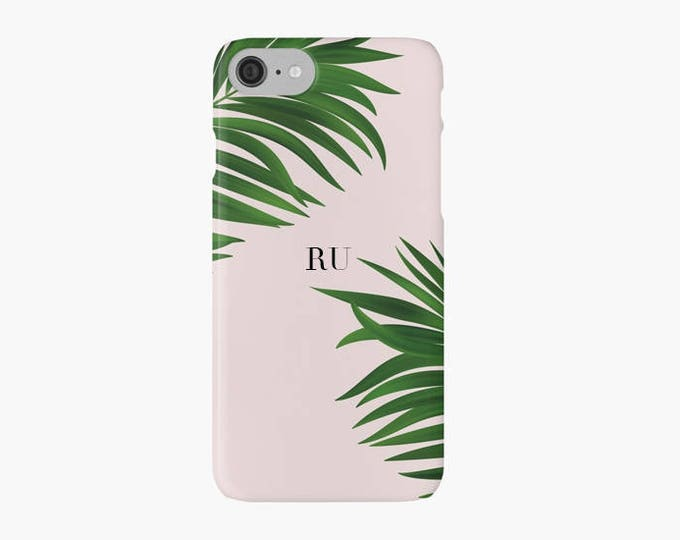 Monogrammed iPhone 11 case, Green Palm Tree iPhone 8 case, Initials iPhone 8 plus case, pink iPhone X case, Gift for her