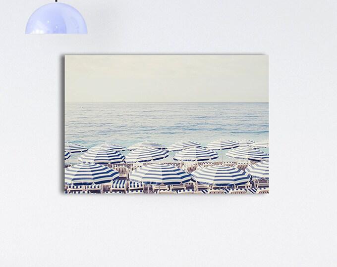 French Riviera Beach Print Canvas Wrap, Aerial beach canvas, Beach Umbrella canvas